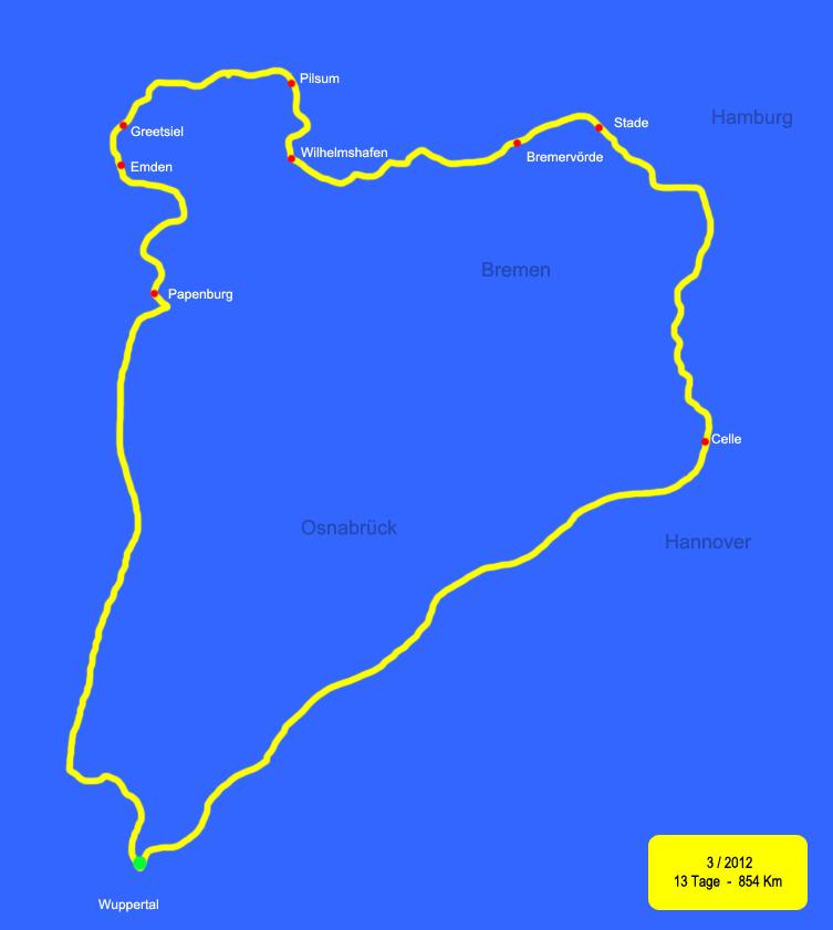 Norddeutschland Karte.Reisemobil Touren Tour 1 Norddeutschland Karte Route 1